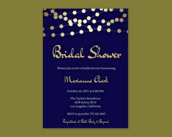 Bridal Shower Invitation Navy Blue, Bridal Shower Invitation Gold, Bridal Shower Invitation Navy Blue and Gold, Bridal Shower Invites