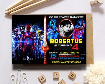 Power Rangers,Power Ranger Invitation,Power Rangers Birthday,Power Ranger Party,Power Ranger Birthday Invitation,Power Rangers Invite