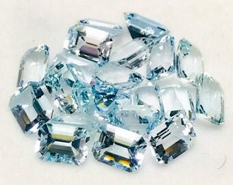 natural Aquamarine natural Beryl emerald cut aquamarine gem aquamarine calibrated aquamarine 6X8 mm loose gem blue gemstone March birthstone