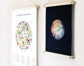Wood Poster Hanger | Print Hanger, wooden poster hanger, poster hanging kit, wooden print hanger, art print, wall art, poster hanger