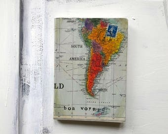 Colourful world map etsy colourful world map a5 travel journal with vintage stamps bon voyage notebook vintage look gumiabroncs Gallery