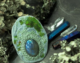 Mossy and lichens   stone . Brooch  of polymer clay with realistic moss.  With blue  cabochon Labrador.