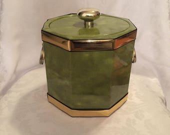 Vintage green vinyl Kraftware ice bucket