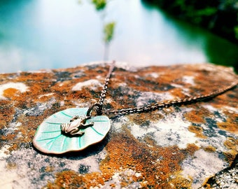 Hoppily Ever After- Solid Brass Lilly Pad Necklace