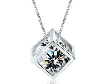 Cube Necklace with Swarovski crystal