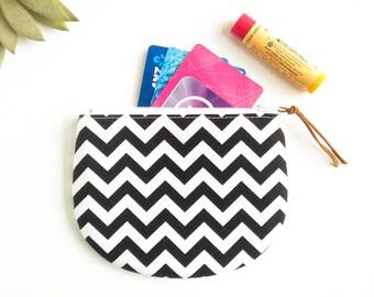 Zipper Pouch, Chevron Zipper Pouch, Round Coin Pouch, Jewelry Case, Womens Mini Wallet, Credit Card Case, Small Zip Wallet