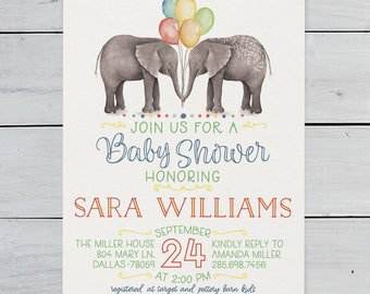 Baby Shower Invitation, Elephant - CUSTOMIZED PRINTABLE INVITATION