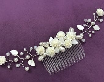Bohemian Flowers Bridal Comb with Crystals and Perls, Wedding Hair Accessories, Bridal Hair Pieces, Bridesmaid Jewelry, Floral Wedding Comb