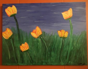 Flowers in the Field acrylic painting