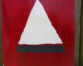 White, Black on Red — Abstract Art