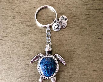 Deep blue and silver jeweled turtle keychain