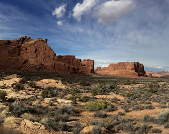 Arches National Park Wall Art, Utah Landscape, Full Color and BW Canvas Print