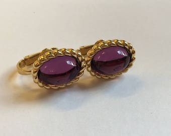 Vintage 80's Cabochon style Earrings Purple & Gold