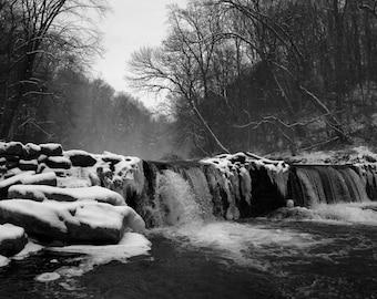 Wissahickon Snow. Black and White Nature Photography Fine Art Print. Wall Decor.
