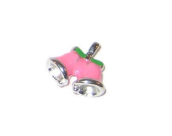 16 x 18mm Enamel Pink Bell Metal Charm - 2 Charms