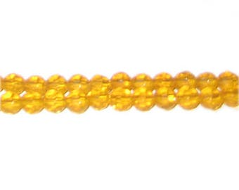 "6mm Orange Gold Faceted Round Semi-Opaque Glass Bead, 13"" string"
