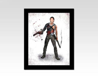 The Evil Dead inspired Ash Williams with chainsaw and gun watercolour effect print