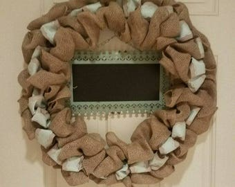 Chalkboard wreath with color