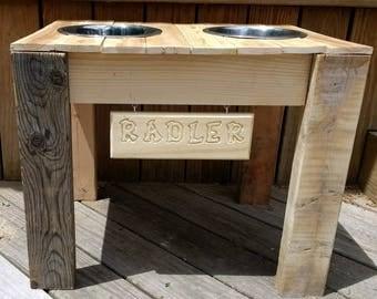 Raised Dog Bowl Feeder Wood Elevated Dog Bowl Feeder Dog Bowl Stand Stainless Food and Water Dog Bowls