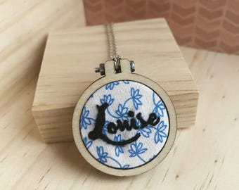 43mm Personalised Embroidered Necklace