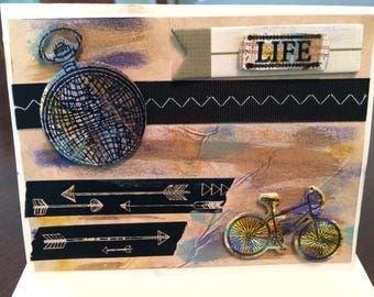 Bicycle theme card, adventurer, hand painted, multi-layered, die cut elements, masculine colors, card for him, any occasion, birthday,