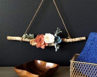 Floral Modern or Vintage Wall Hanging Wreath Decor Birch Wood Branch for Gift Wedding Home