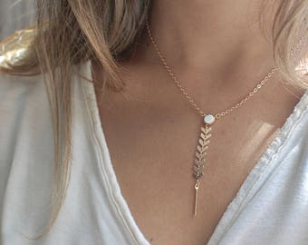 Chevron Lariat Necklace // White Howlite Drop // Gold Y Necklace // Gemstone Drop Necklace // Gifts or Her // Bridesmaid Gifts