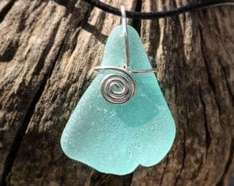 Large ocean blue sea glass pendant