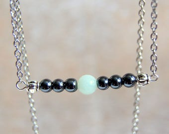 String of hematite and amazonite gemstones beads