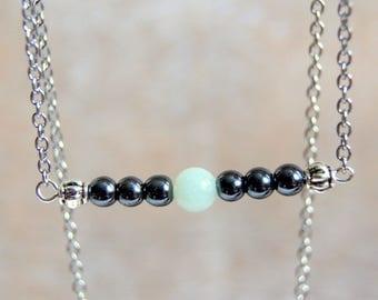 String of hematite and amazonite gemstones beads