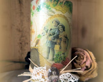 Candle decorated with vintage ephemera old 13 cm