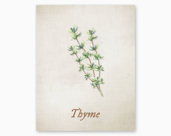 THYME PRINTABLE, Kitchen Herbs Art, Kitchen Decor, Kitchen Art Print, Rustic Kitchen Art, Vintage Kitchen, DIY Kitchen Art, Instant Download