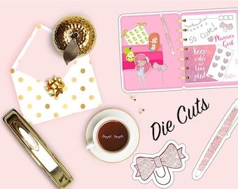 Love Pink Glitter Die Cut, Glitter Bow Planner Diecut, Cute Kawaii Girl, Scrapbook Accessory, Paper Decor Party Decoration