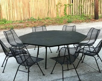 "Mid Century Modern Russell Woodard ""Sculptura"" Patio Dining set - 9PC Vintage MCM Seating Lounge Chair Retro"