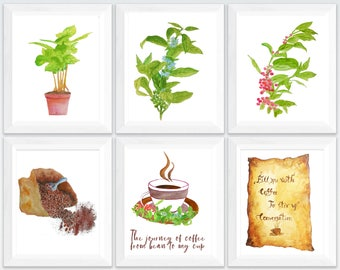 coffee wall art set, coffee lovers decal, coffee watercolor print, coffee wall decor, coffee art print, coffee decoration for kitchen