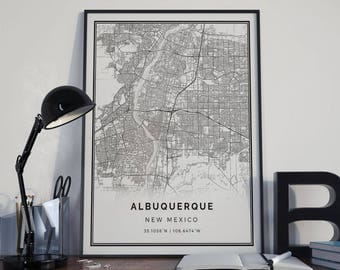 at home decor albuquerque mexico city map etsy 10376