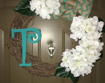 """Floral Bow Tie Wreath with an """"T"""""""