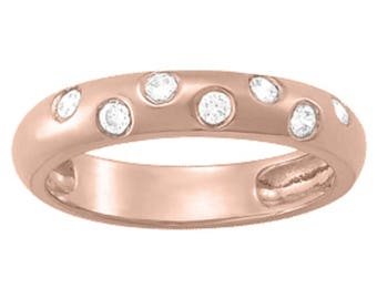 0.14 Carat Round Diamond Wedding Band In 10K Solid Gold