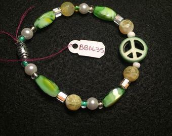 Green Peace Handmade Beaded Bracelet