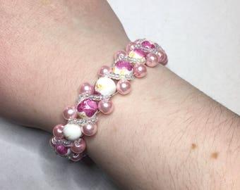 Gorgeous Pink Floral Beaded Bracelet
