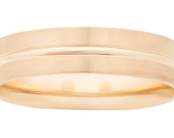 14K White Gold 7mm Satin-finished Center w/ Polished Vertical Grooves and Sleek Beveled Edges
