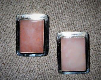 Sterling Silver Pink Quartz Native American stud earrings.