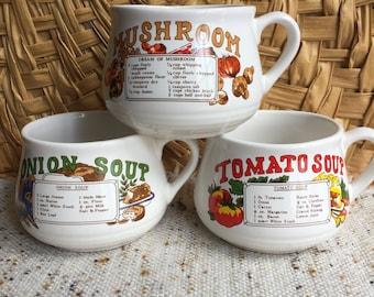 Set of 3 soup recipe cups