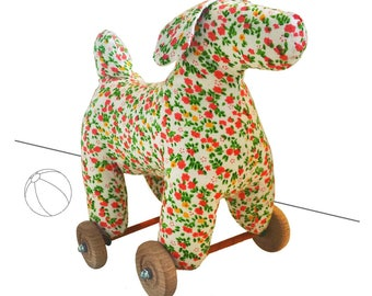 Art Toy Sculpture textile Dog House on wheels