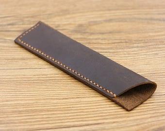 Leather Pen Holder, Single Pen Holder, Handmade Leather Pen Pouch, Leather Pen Case,Leather pen sleeve