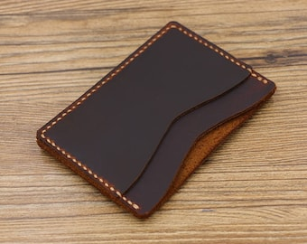 Leather Card Holder/Handcrafted Mens Slim Wallet/Minimalist Wallet with Cash Pocket/Everyday Carry Wallet/Leather Card Case/Card Sleeve