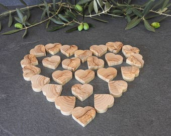 25 pieces of olive wood-hearts, solid wood, olive wood, hearts, Deco hearts