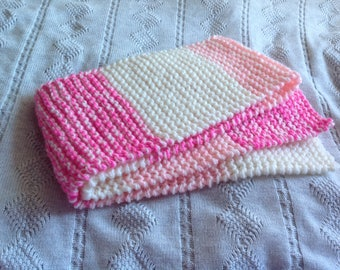 Pink and cream knitted scarf