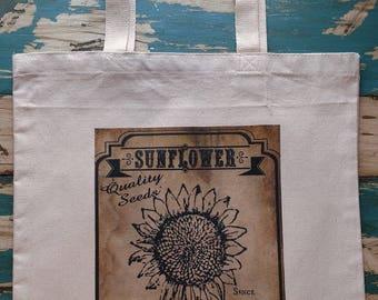 Vintage Sunflower Label Tote Bag