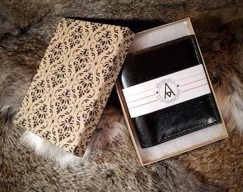 All leather 4 pocket billfold wallet